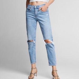 ZARA WOMAN Distressed Boyfriend Ripped Blue Jeans